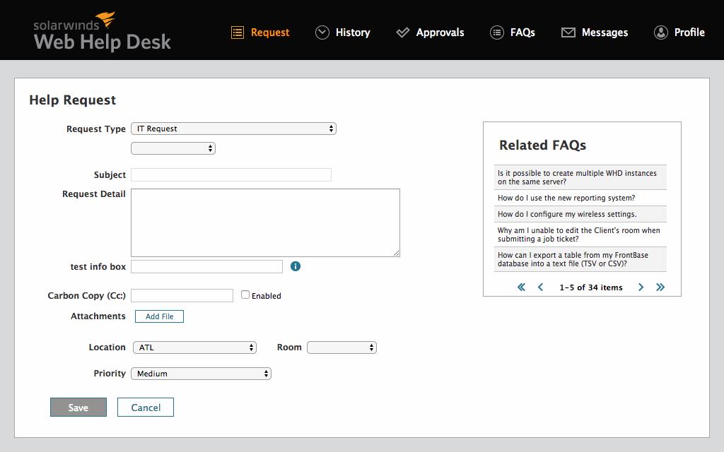 SolarWinds Web Help Desk характеристики